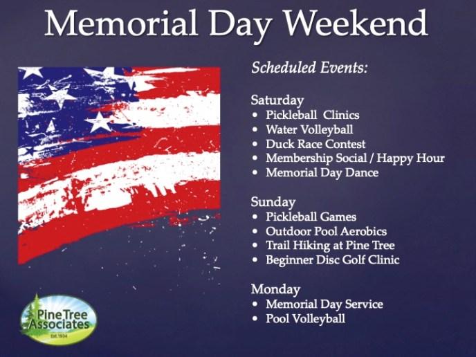 Memorial Day 2019 schedule of events.