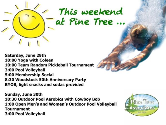 Pine Tree event schedule for June 29, 2019