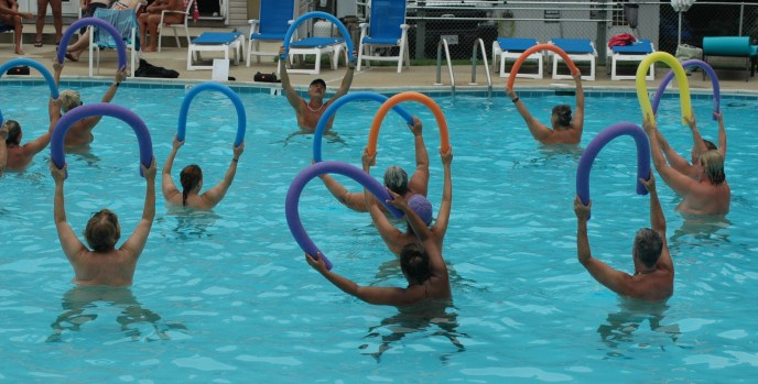 A water aerobics session at Pine Tree's outdoor pool.
