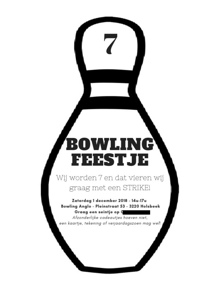 voorbeeld uitnodigingskaart bowlingfeestje - kinderfeest organiseren bowling