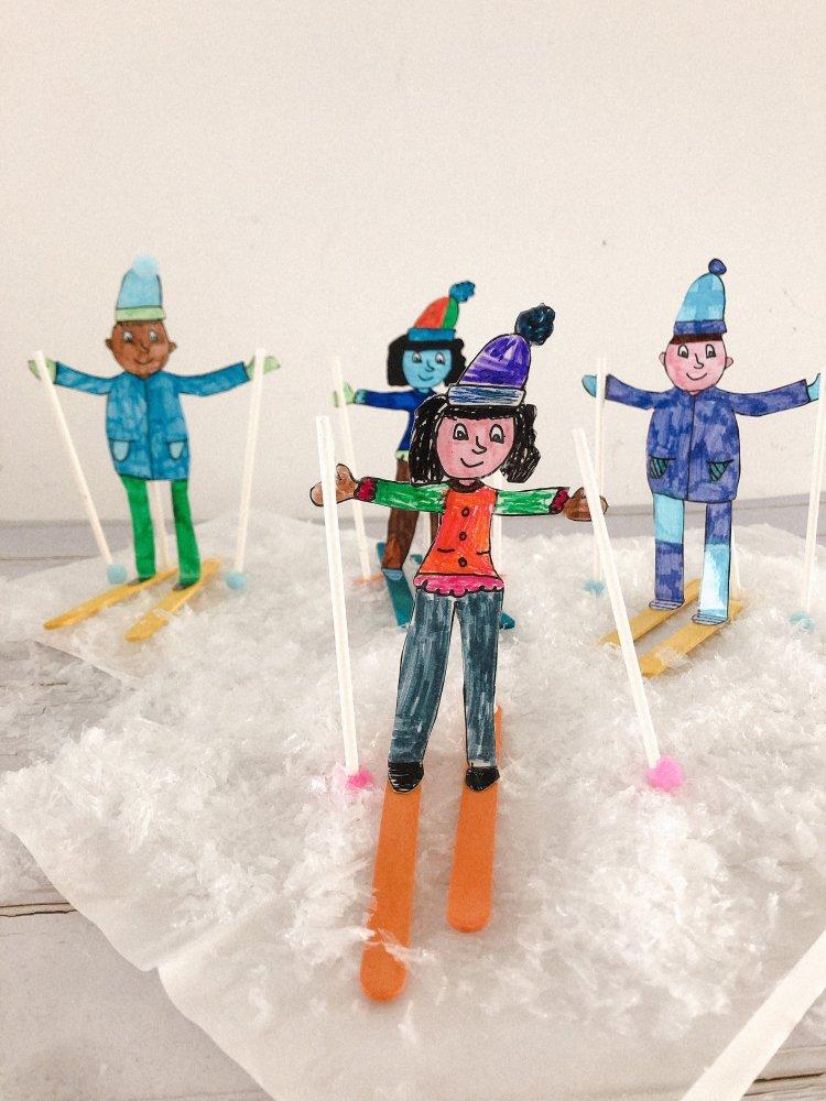 Ski mannetjes knutselen met kinderen - leuke knutselideeën en knutselwerkjes thema winter -1