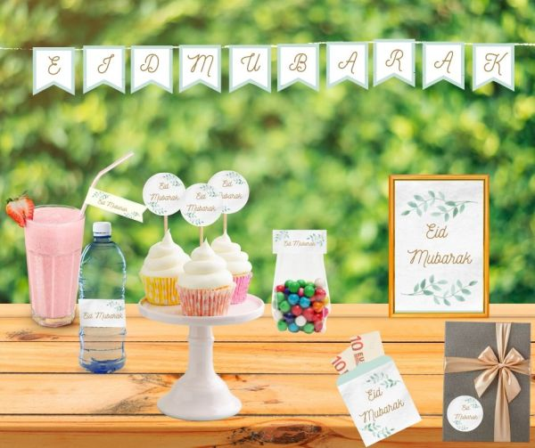 Eid Mubarak printable Set Basic Green- wrappers waterflesjes - snoepzakjes - stickers - cocktailprikkers - slinger - knijpzak wrappers