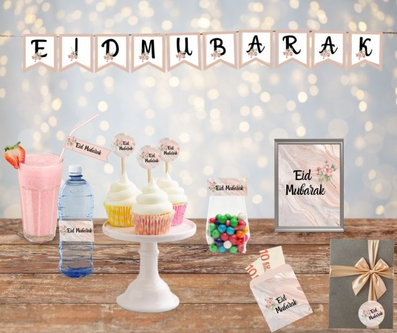 Eid Mubarak feest pakket printable Set Marble Flower - wrappers waterflesjes - snoepzakjes - stickers - cocktailprikkers - slinger - knijpzak wrappers