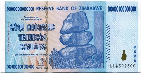Cien trillones de Zimbabwe.