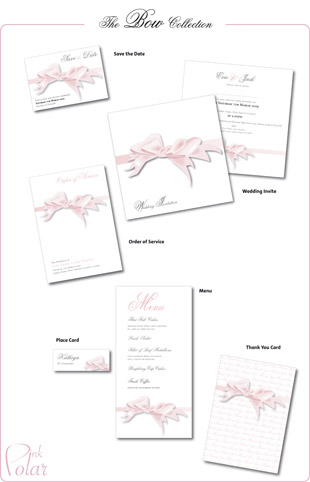 The Bow wedding stationery collection by Pink Polar