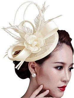 Fascigirl Sinamay Fascinator Hat Feather Party Pillbox Hat Flower Derby Hat for Women - White