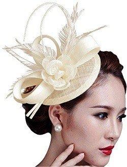 Fascigirl Sinamay Fascinator Hat Feather Party Pillbox Hat Flower Derby Hat for Women - White