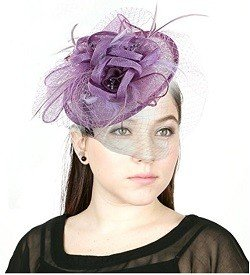 NYFASHION101 Cocktail Fashion Sinamay Fascinator Hat Flower Design & Net S102651, Lilac