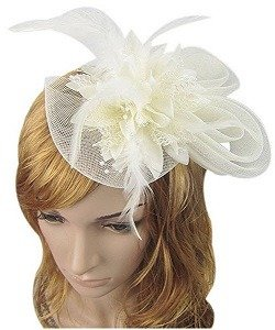 Anita Women's fascinators Small hairpin feather hat (One size, Beige)