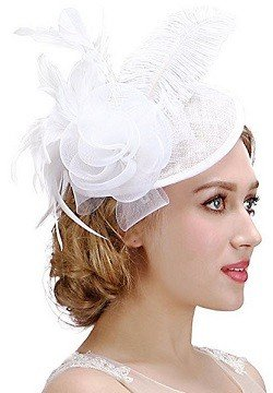 Valdler Womens Feather Mesh Net Sinamay Fascinator Hat with Hair Clip Tea Party Derby - White