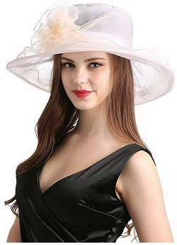 Womens Organza Church Summer Wide Brim Kentucky Derby Fascinator Cap Tea Party Wedding Sun Hats