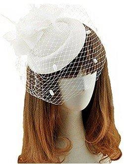 Fascinator Hats Pillbox Hat British Bowler Hat Feather Flower Veil Wedding Hat (white)