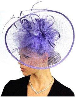NYFASHION101 Cocktail Sinamay Fascinator Headband Feather & Flower Design, Lilac