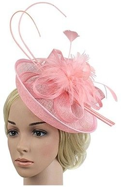 Z&X Sinamay Fascinator Headband Flower Feather Party Mesh Pillbox Hat for Women Pink