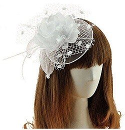 Coolwife Womens Fascinator Veil Flower Cocktail Tea Party Headwear (White)
