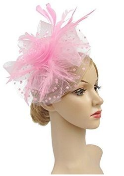 Flower Cocktail Tea Party Headwear Feather Fascinators Top Hat for Girls and Women Pink