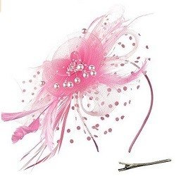 DRESHOW Fascinators Hat Flower Mesh Ribbons Feathers on a Headband and a Clip Tea Party Headwear for Girls and Women Pink