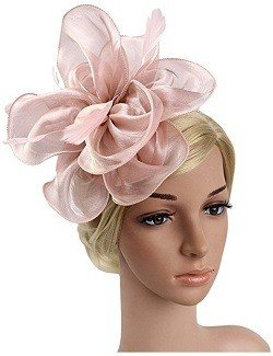 Urban CoCo Women's Vintage Flower Feather Mesh Net Fascinator Hair Clip Hat Party Wedding Pink