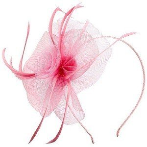 Acecharming Fascinators for Women, Feather Sinamay Fascinators with Headbands Tea Party Pillbox Hat Flower Derby Hats Pink