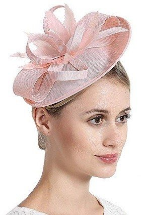 Free Yoka Womens Light Pink Fascinators Feather Pillbox Hat Cute Beads for Cocktail Kentucky Derby Ball Wedding Church Party