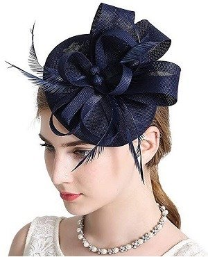 Navy Blue Sinamay Feather Fascinators Womens Pillbox Flower Derby Hat for Cocktail Ball Wedding Church Tea Party