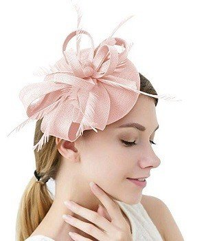 Sinamay Feather Light Pink Fascinators Womens Pillbox Flower Derby Hat for Cocktail Ball Wedding Church Tea Party