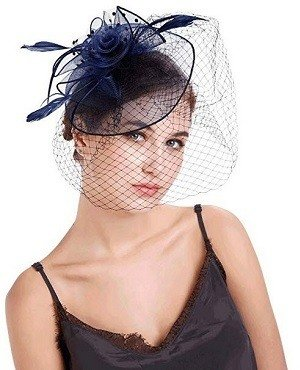 topnuna Navy Blue Fascinator Hats for Lady Cocktail Kentucky Derby Women Wedding Bridal Caps