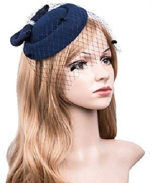 Navy Blue Fascinators Hats 20s 50s Hat Pillbox Hat Cocktail Tea Party Headwear with Veil for Girls and Women