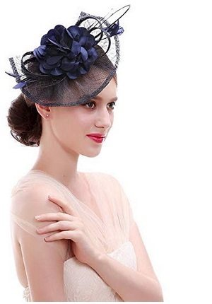 Sinamay Feather Navy Blue Fascinator Headband Flower Derby Hat for Women