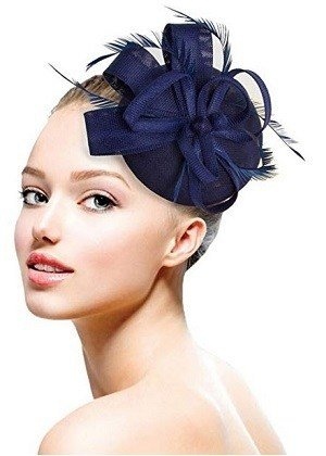 Fascinators Hat Navy Blue Women Tea Party Flower Headband Kentucky Derby Hat Cocktail Flower Sinamay Mesh Feathers Hair Clip for Girls