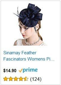 Sinamay Feather Fascinators Womens Navy Blue Pillbox Flower Derby Hat for Cocktail Ball Wedding Church Tea Party