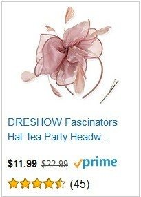 DRESHOW Pink Fascinators Hat Tea Party Headwear Ribbons Feathers on a Headband and a Clip for Girls and Women