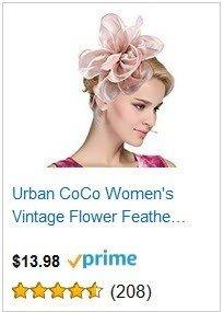 Urban CoCo Women's Vintage Flower Feather Mesh Net Fascinator Hair Clip Hat Party Wedding - Pink