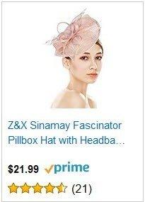 Z&X Sinamay Pink Fascinator Pillbox Hat Headband Hair Clip Cocktail Tea Party
