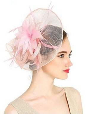 VKFashion Charming Sinamay Pink Flower Fascinator Hats Wedding Headpiece with clips Cocktail Party Hats Pink