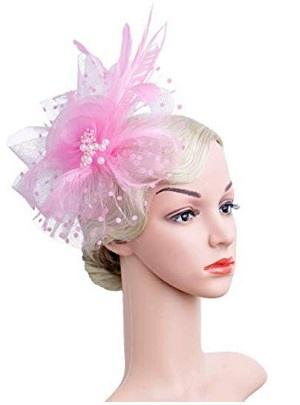 Flower Cocktail Tea Party Headwear Feather Fascinators Top Hat for Girls and Women - Pink