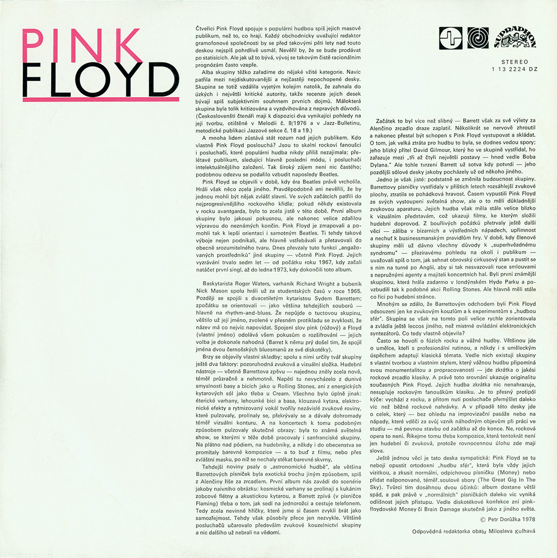 Pink Floyd Archives Czechoslovakian Lp Discography