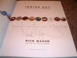 """Col's copy of Inside Out Nick has written the following. """"To Col - Thanks for all your hard work on A Fleeting Glimpse"""" Thank you Nick!"""