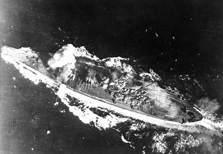 The Japanese battleship Yamato at sea.