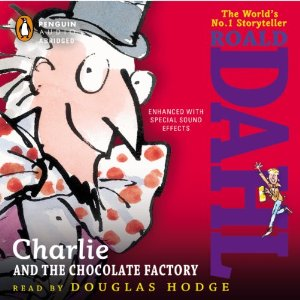 Charlie and the Chocolate factory audiobook cover artwork.
