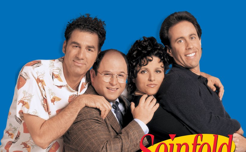 Image of the Seinfeld cast (from left to right, Kramer, George, Elaine, and Jerry)