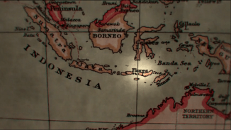 A map of Indonesia with the island of Flores highlighted, where Timothy Darrow went on expedition.