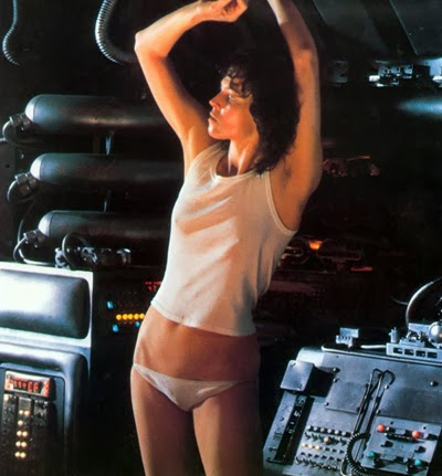 Sigourney Weaver as 'Ripley' on the escape vessel wearing her white panties and such.