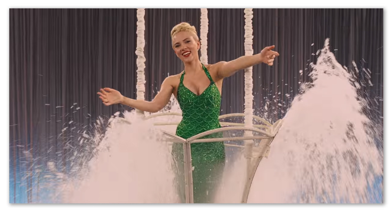 Scarlett Johansson as the actress DeeAnna Moran in her mermaid outfit.