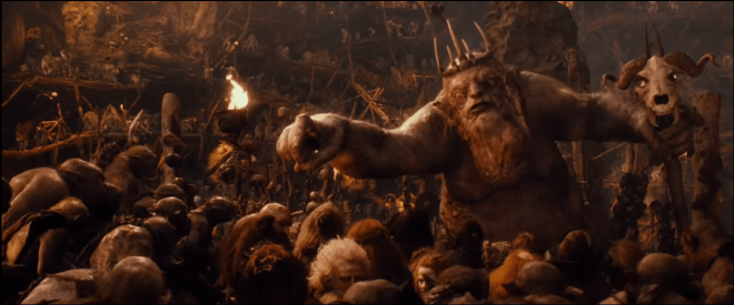 An image of the Goblin King singing from The Hobbit an Unexpected Journey