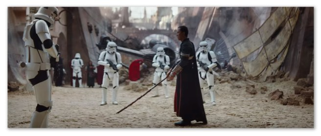 Image of some guy about to go kung fu on some storm troopers in Rogue One