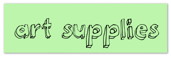 "Image of green banner with text ""art supplies"""