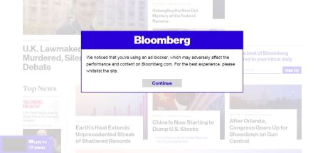 Bloomberg still seems to think its adblock blocker is a GOOD idea and DOESNT annoy users at all.