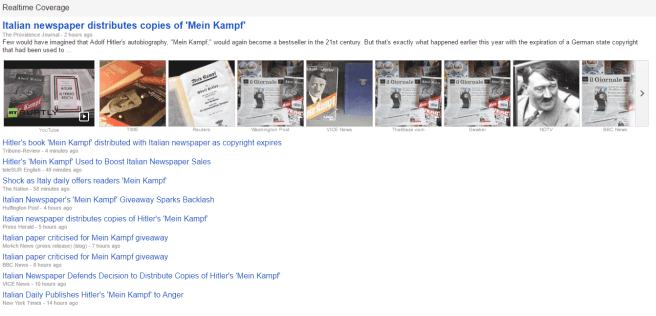 A screenshot of a bunch of clickbaity articles concerning an Italian newspapers giveaway of Mein Kampf.