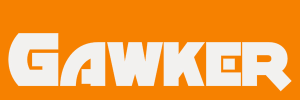 "Orange colored banner with text ""Gawker"""